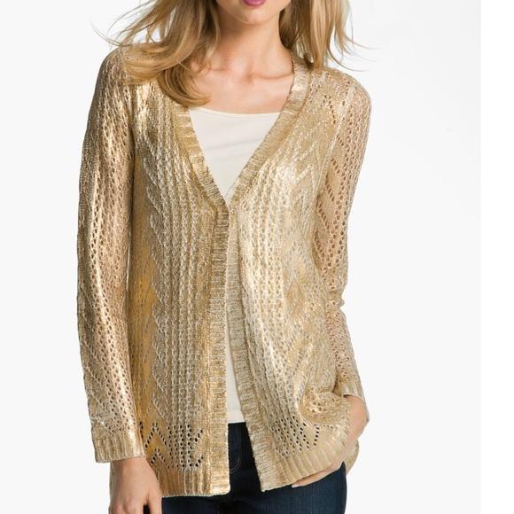 672ba3178fa4f Alberto Makali Sweaters - Alberto Makali Open Stitch Metallic Gold Cardigan